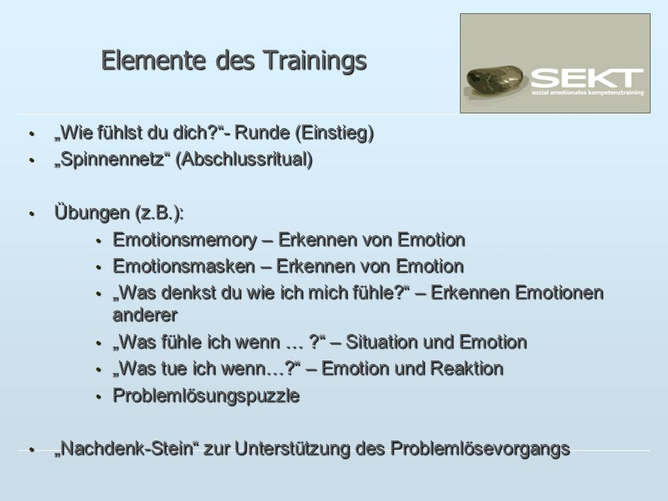 Elemente des Trainings