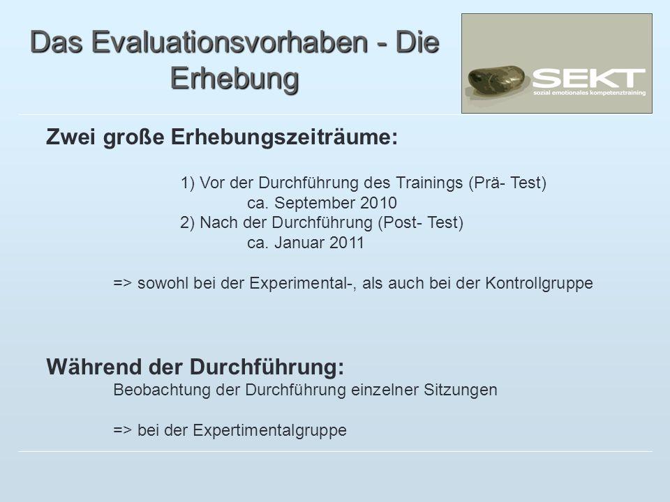 Das Evaluationsvorhaben - Die Erhebung