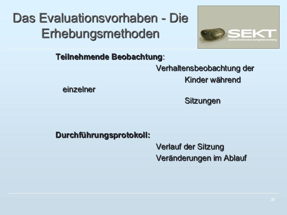 Das Evaluationsvorhaben - Die Erhebungsmethoden
