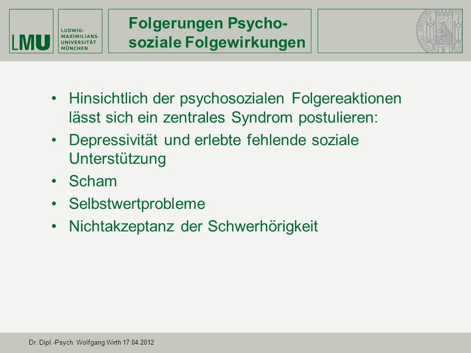 Folgerungen Psycho-soziale Folgewirkungen
