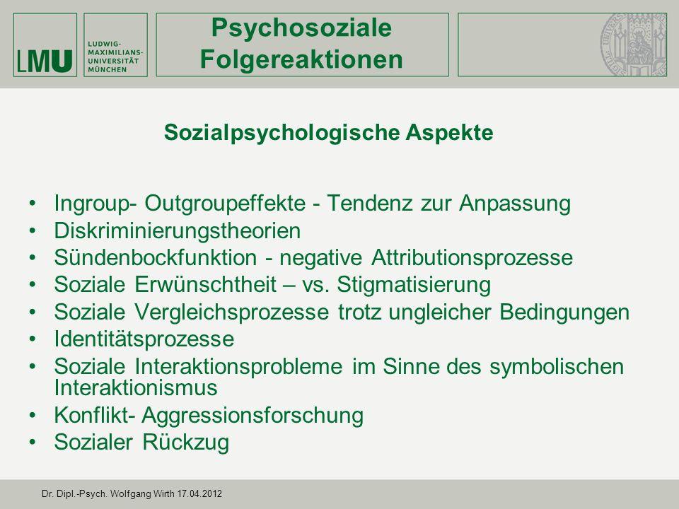 Psychosoziale Folgereaktionen Sozialpsychologische Aspekte