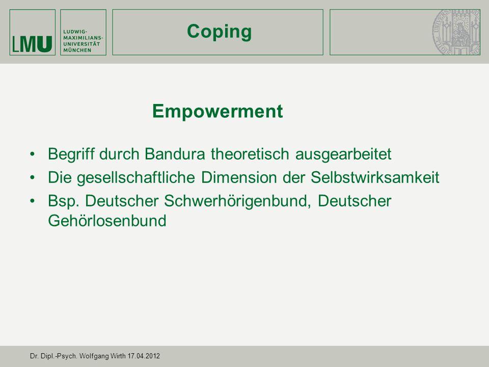 Coping Empowerment Begriff durch Bandura theoretisch ausgearbeitet