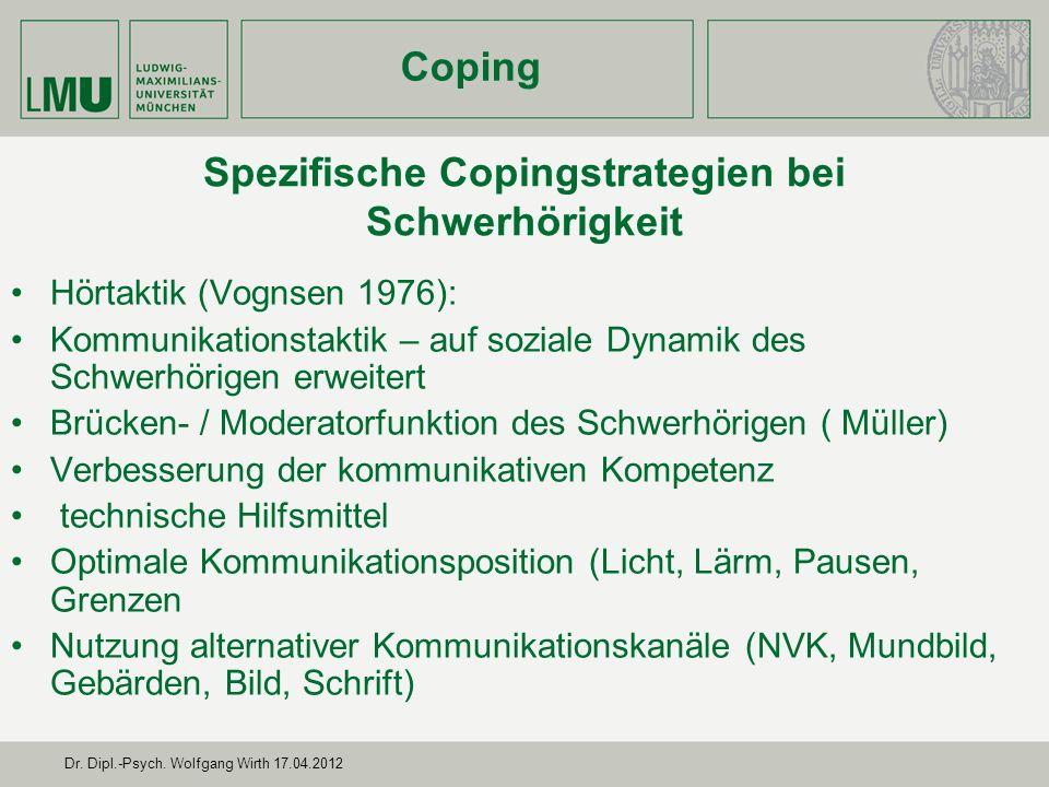 Spezifische Copingstrategien bei Schwerhörigkeit