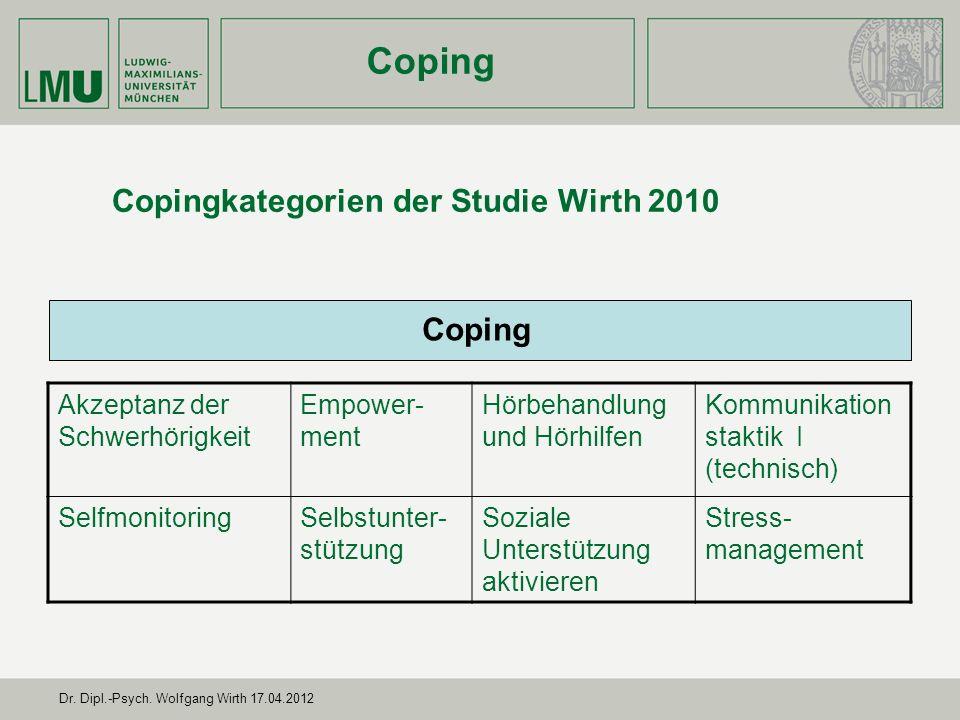 Copingkategorien der Studie Wirth 2010