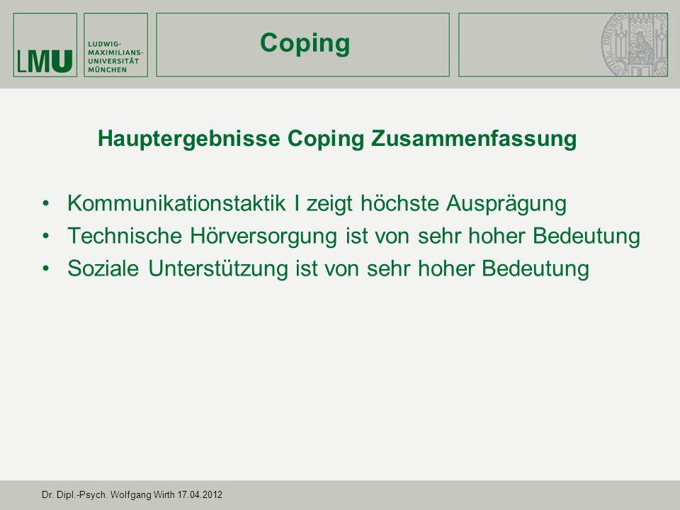 Hauptergebnisse Coping Zusammenfassung