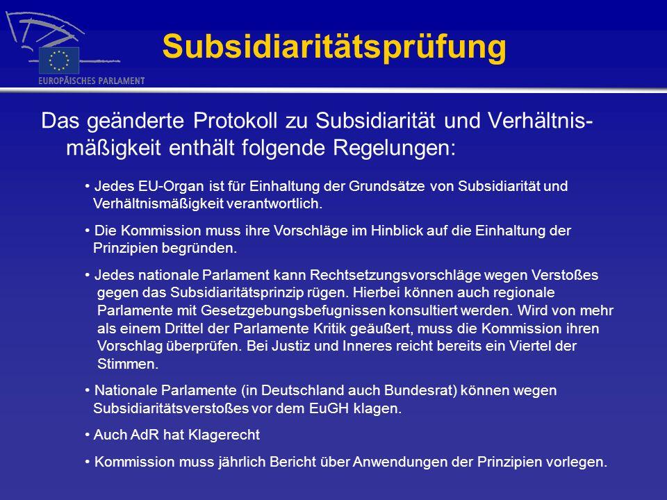 Subsidiaritätsprüfung