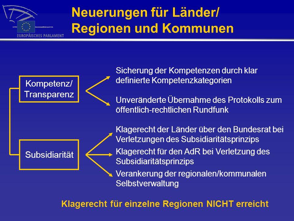 Neuerungen für Länder/ Regionen und Kommunen