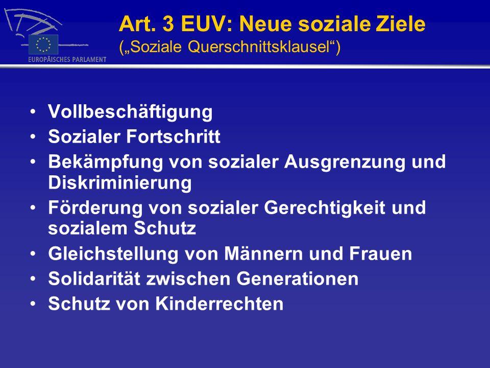 "Art. 3 EUV: Neue soziale Ziele (""Soziale Querschnittsklausel )"