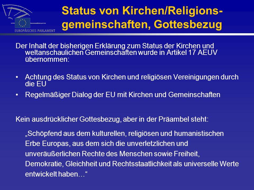 Status von Kirchen/Religions-gemeinschaften, Gottesbezug