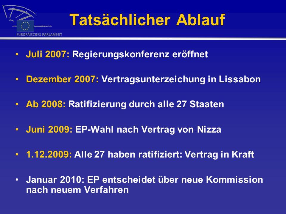 Tatsächlicher Ablauf Juli 2007: Regierungskonferenz eröffnet