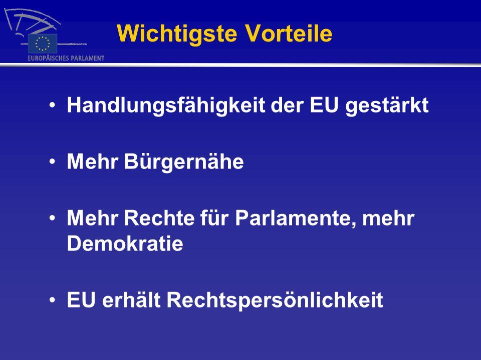 Wichtigste Vorteile Handlungsfähigkeit der EU gestärkt Mehr Bürgernähe