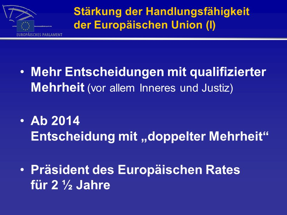 Stärkung der Handlungsfähigkeit der Europäischen Union (I)