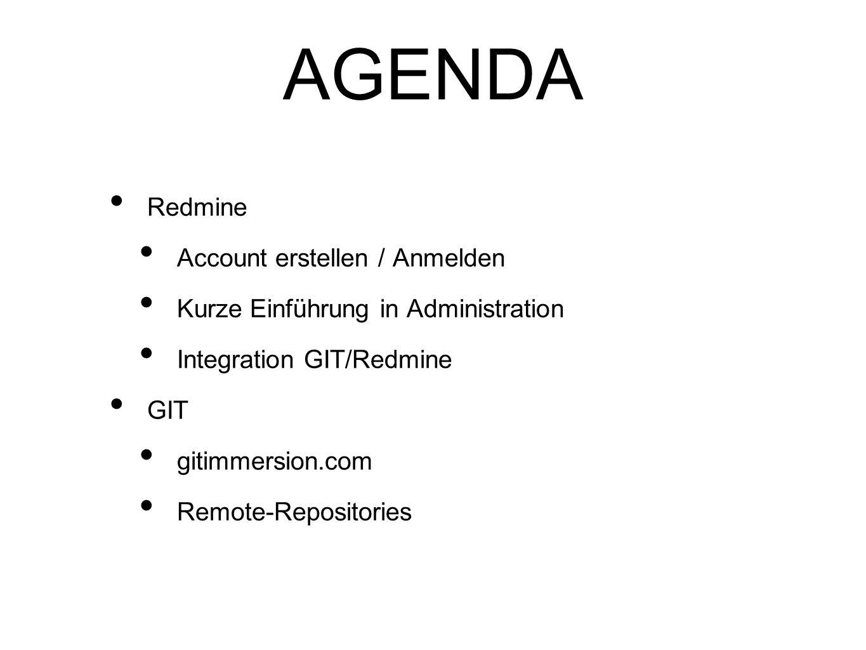 AGENDA Redmine Account erstellen / Anmelden