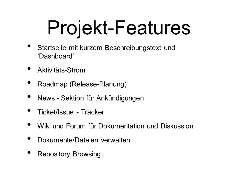 Projekt-Features Startseite mit kurzem Beschreibungstext und 'Dashboard' Aktivitäts-Strom. Roadmap (Release-Planung)