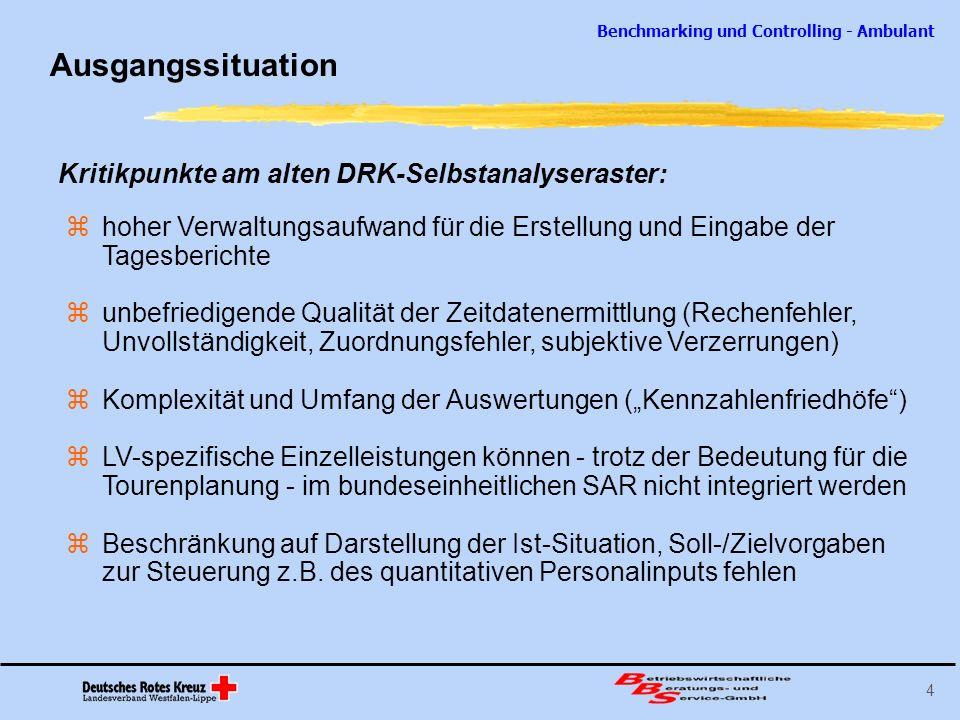 Ausgangssituation Kritikpunkte am alten DRK-Selbstanalyseraster: