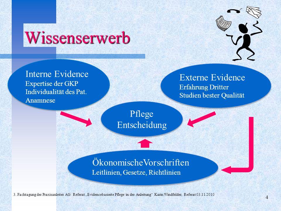 Wissenserwerb Interne Evidence Externe Evidence Pflege Entscheidung
