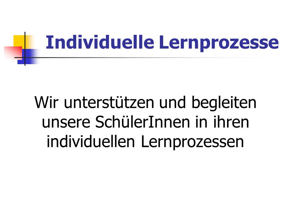 Individuelle Lernprozesse