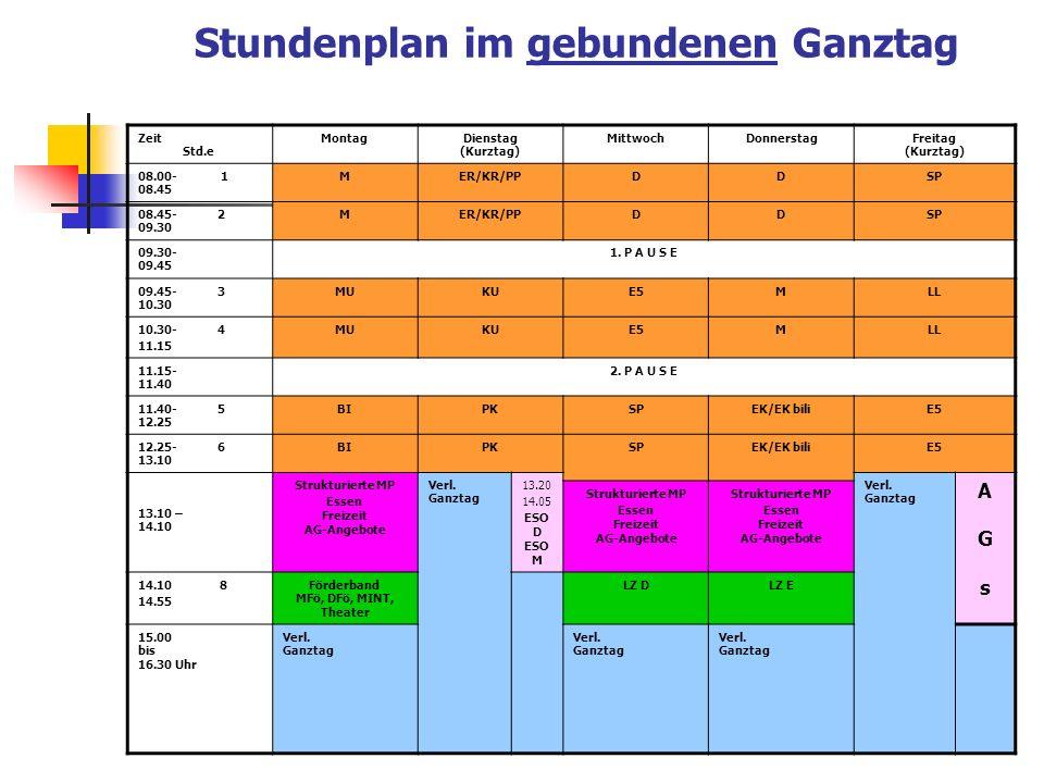 Stundenplan im gebundenen Ganztag
