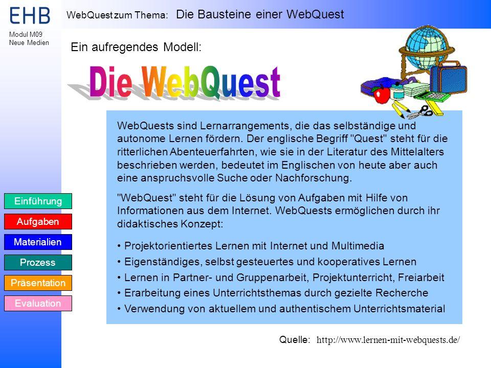 Die WebQuest Ein aufregendes Modell: