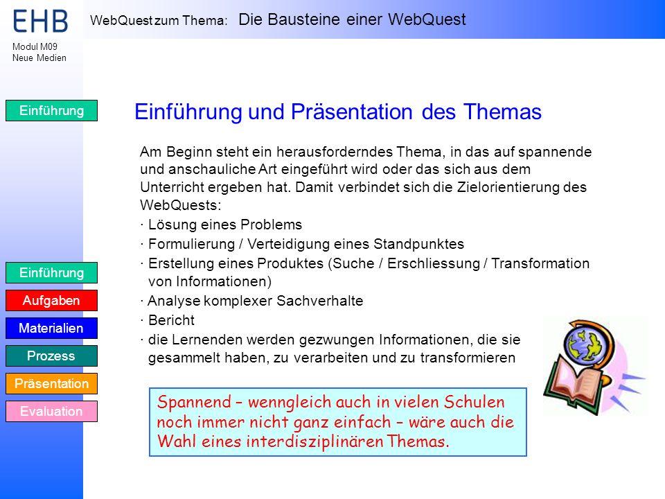 Einführung und Präsentation des Themas