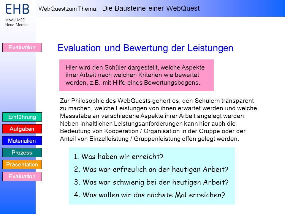 Evaluation und Bewertung der Leistungen