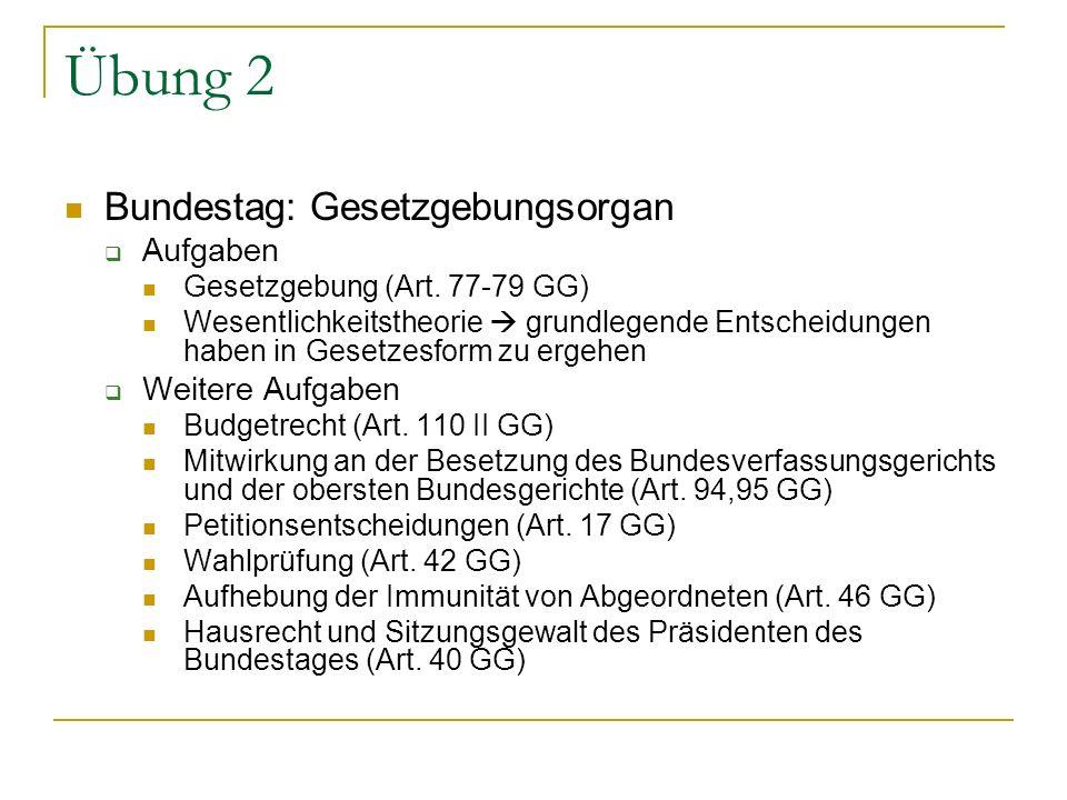 Übung 2 Bundestag: Gesetzgebungsorgan Aufgaben Weitere Aufgaben