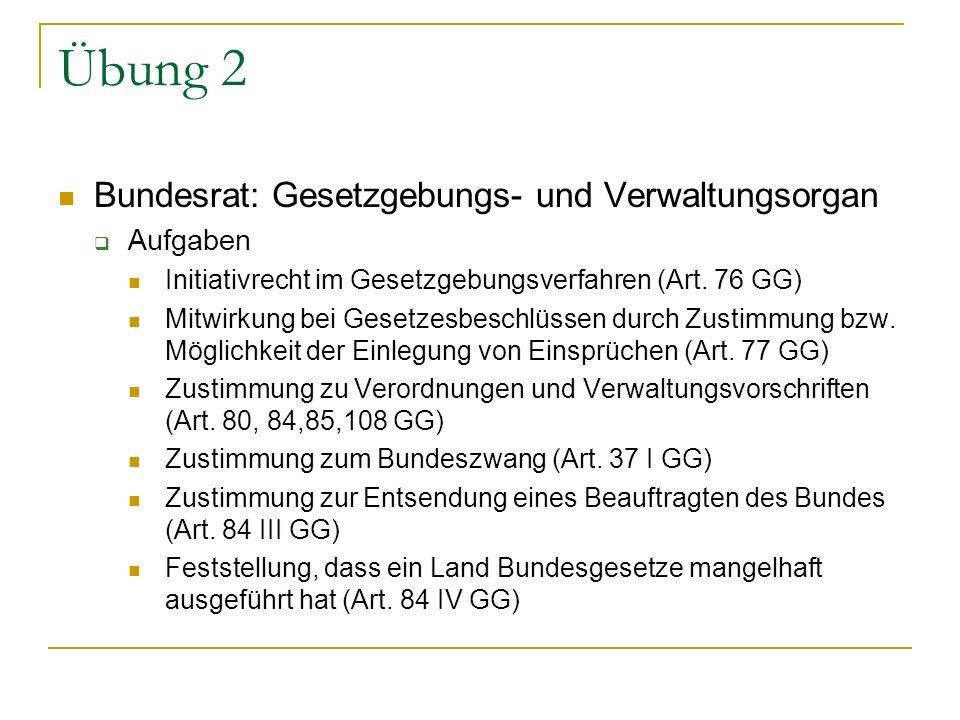 Übung 2 Bundesrat: Gesetzgebungs- und Verwaltungsorgan Aufgaben