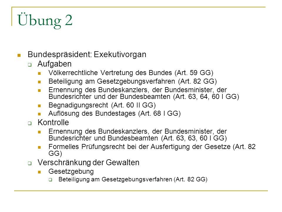 Übung 2 Bundespräsident: Exekutivorgan Aufgaben Kontrolle