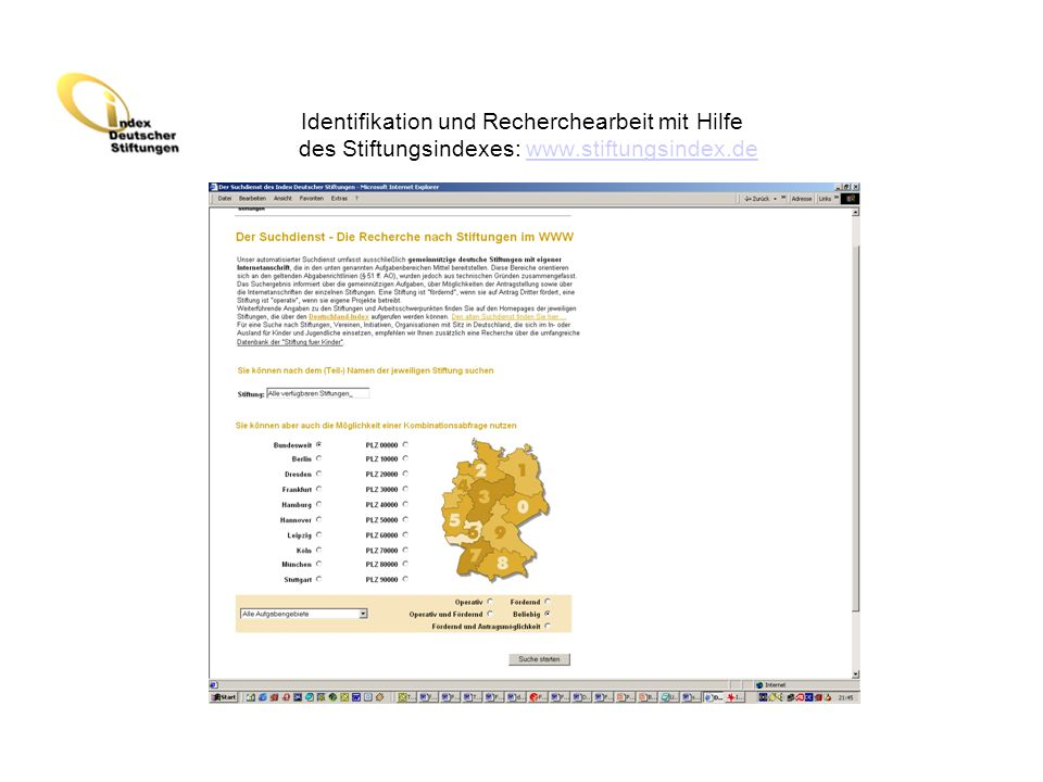 Identifikation und Recherchearbeit mit Hilfe des Stiftungsindexes: www