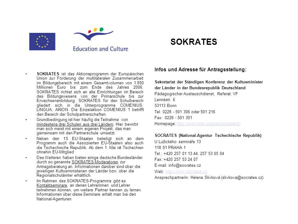 SOKRATES Infos und Adresse für Antragsstellung: