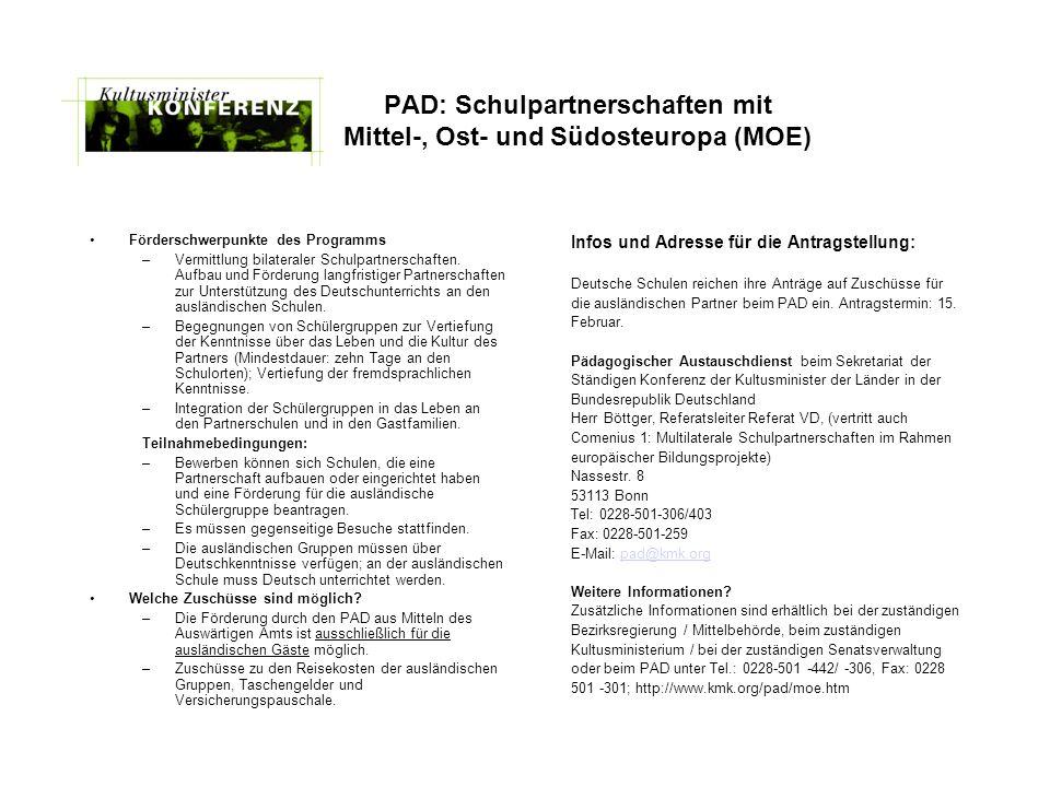 PAD: Schulpartnerschaften mit Mittel-, Ost- und Südosteuropa (MOE)