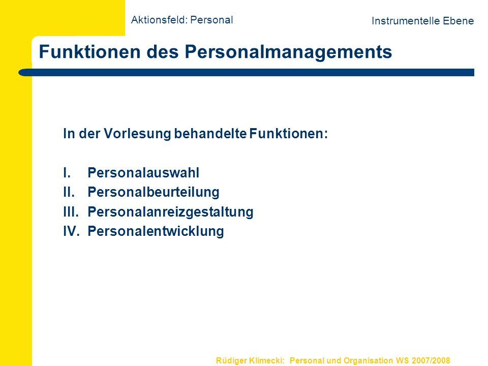 Funktionen des Personalmanagements
