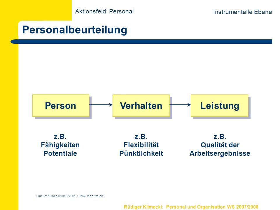Personalbeurteilung Person Verhalten Leistung