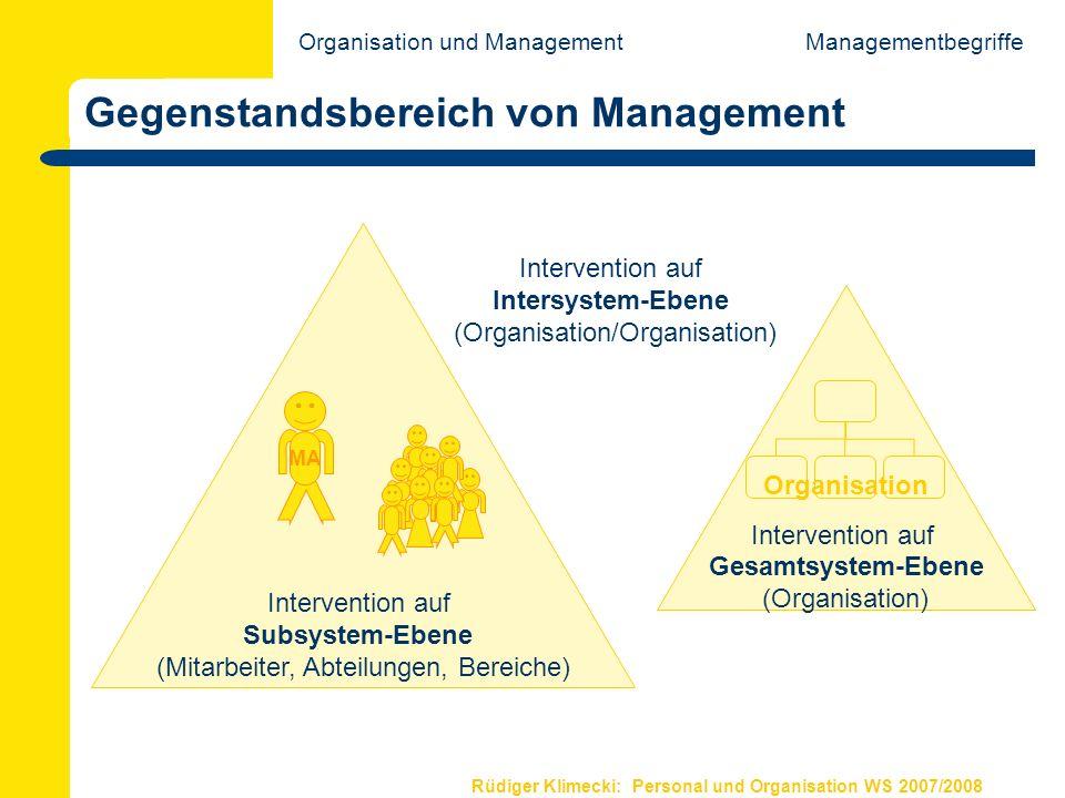 Gegenstandsbereich von Management