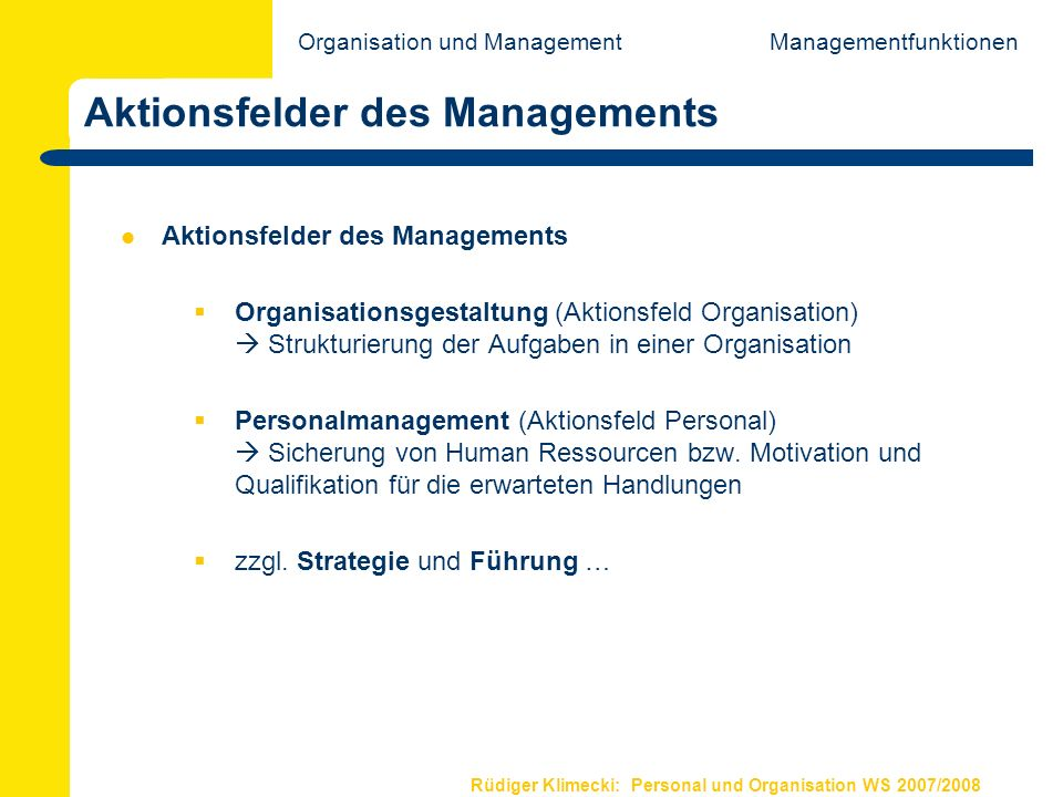 Aktionsfelder des Managements