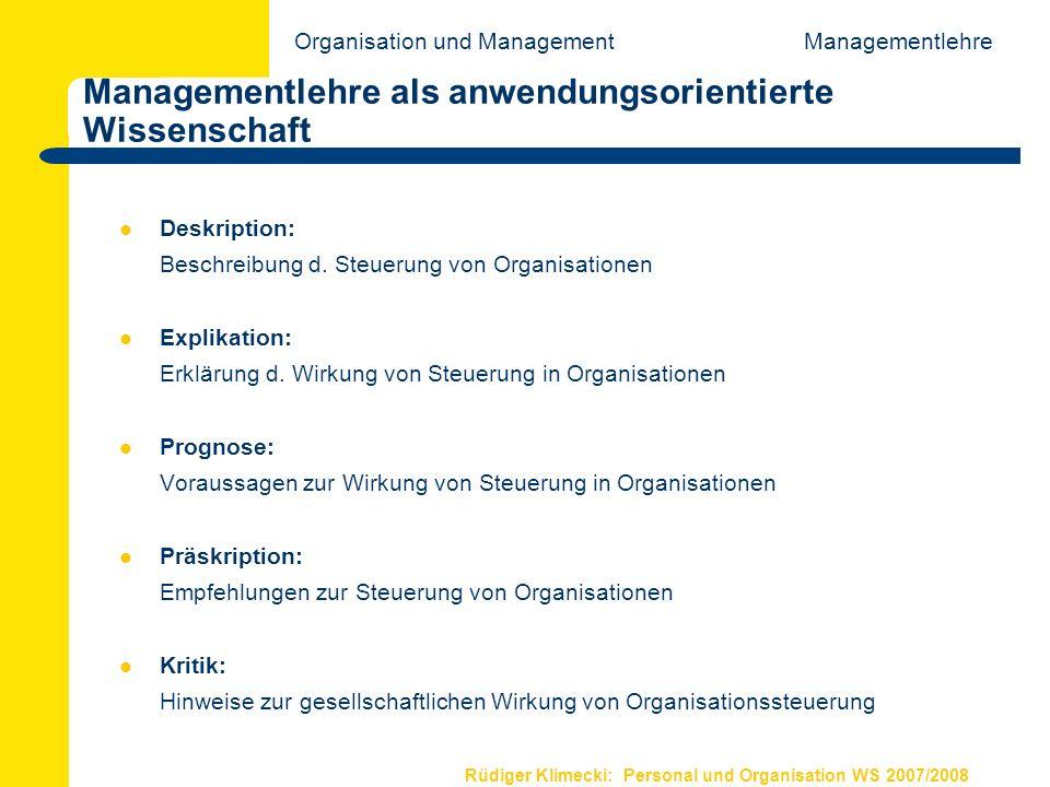 Managementlehre als anwendungsorientierte Wissenschaft