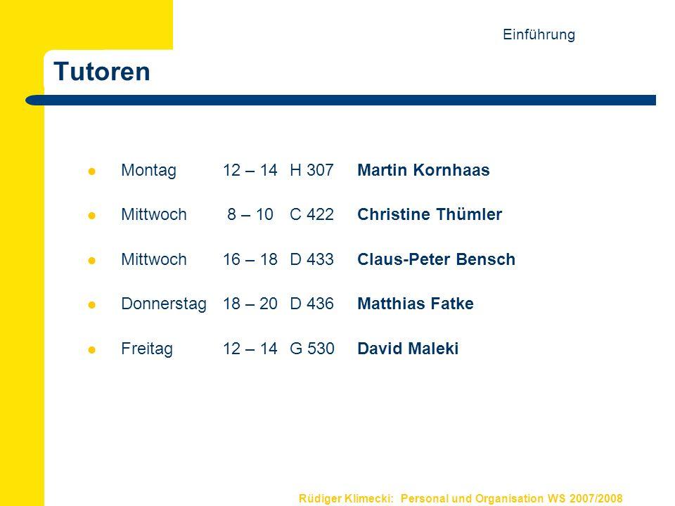 Tutoren Montag 12 – 14 H 307 Martin Kornhaas