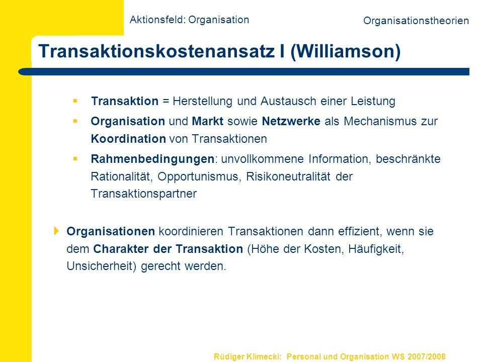 Transaktionskostenansatz I (Williamson)