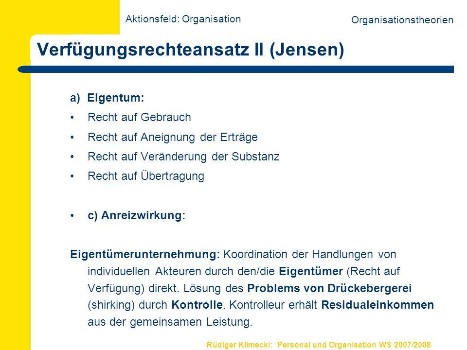 Verfügungsrechteansatz II (Jensen)