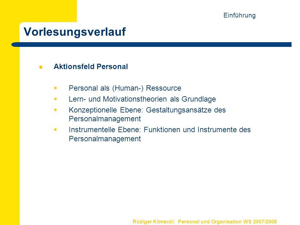 Vorlesungsverlauf Aktionsfeld Personal Personal als (Human-) Ressource