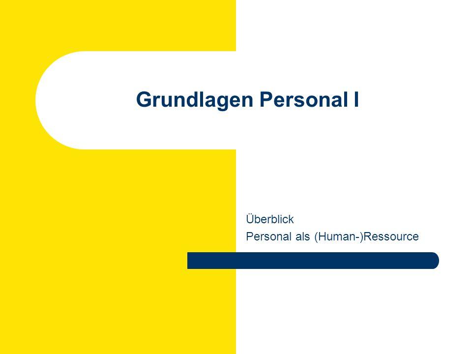 Überblick Personal als (Human-)Ressource