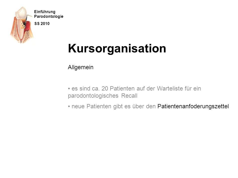 Kursorganisation Allgemein