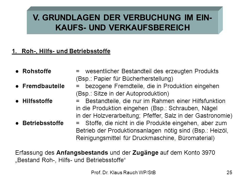 V. GRUNDLAGEN DER VERBUCHUNG IM EIN- KAUFS- UND VERKAUFSBEREICH