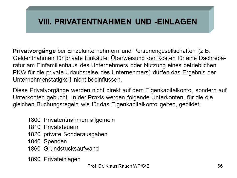 VIII. PRIVATENTNAHMEN UND -EINLAGEN