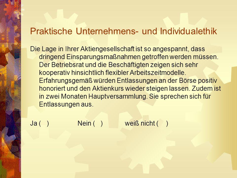 Praktische Unternehmens- und Individualethik