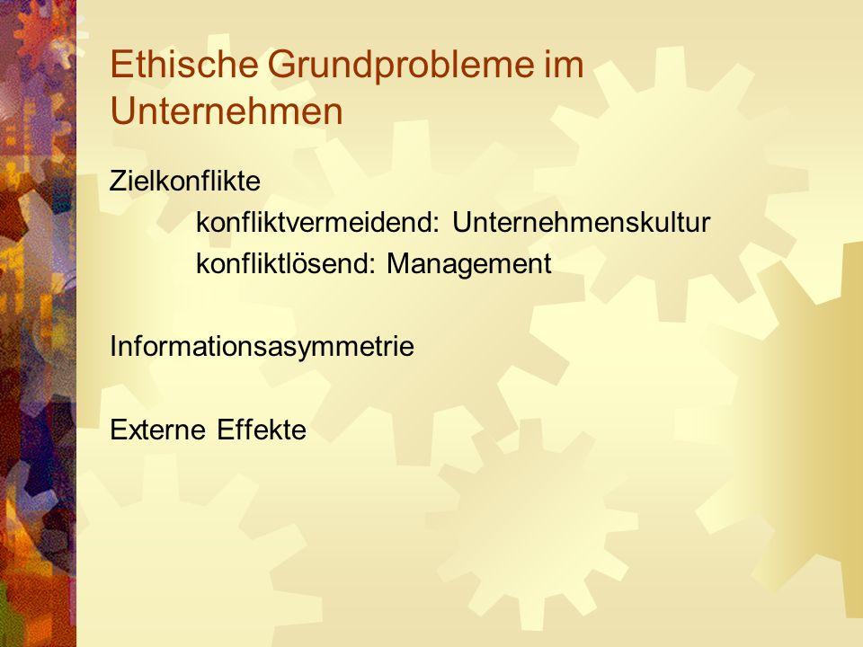 Ethische Grundprobleme im Unternehmen