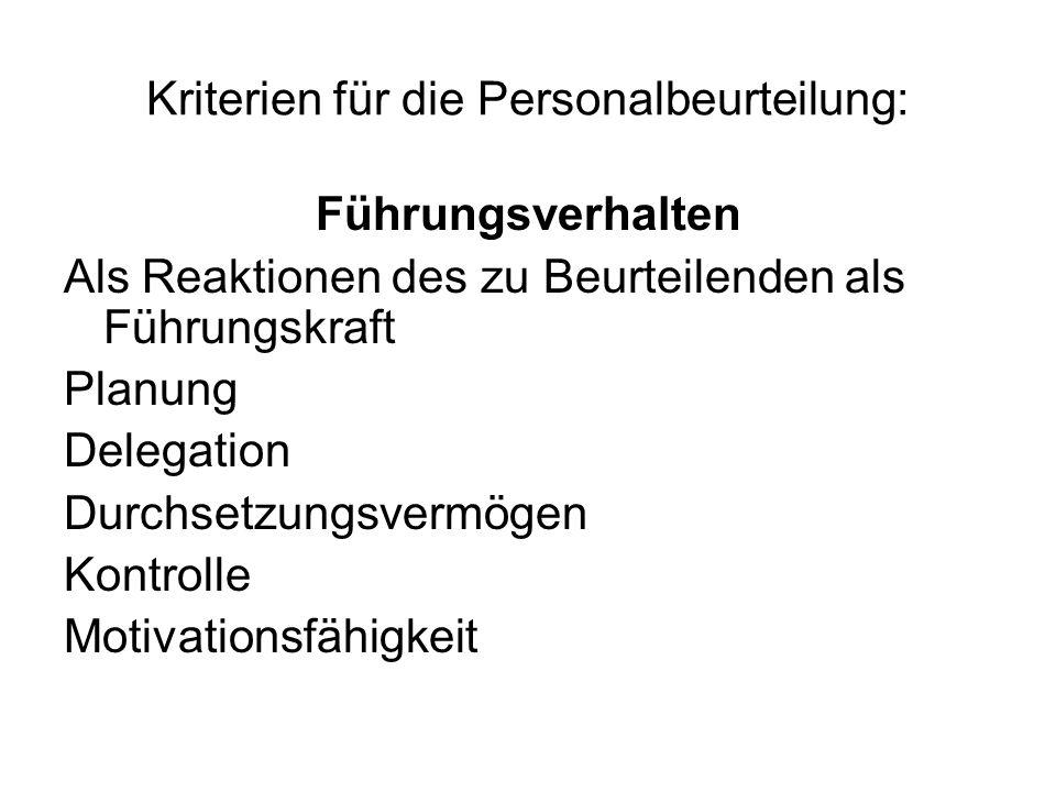 Kriterien für die Personalbeurteilung: