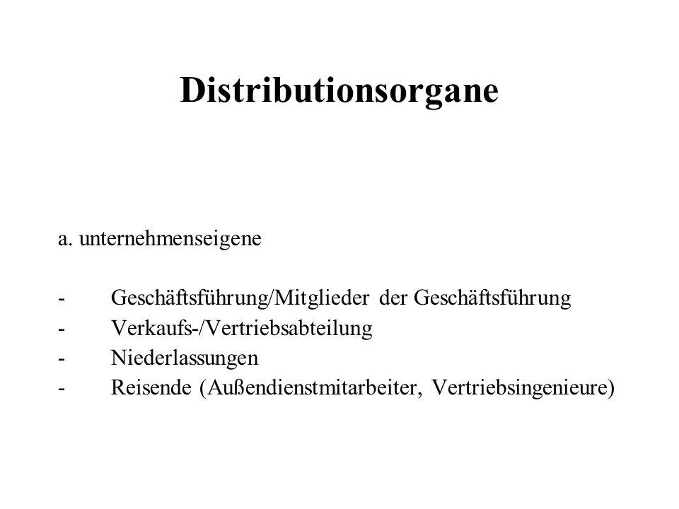 Distributionsorgane a. unternehmenseigene