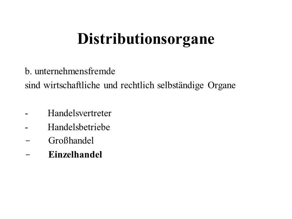 Distributionsorgane b. unternehmensfremde
