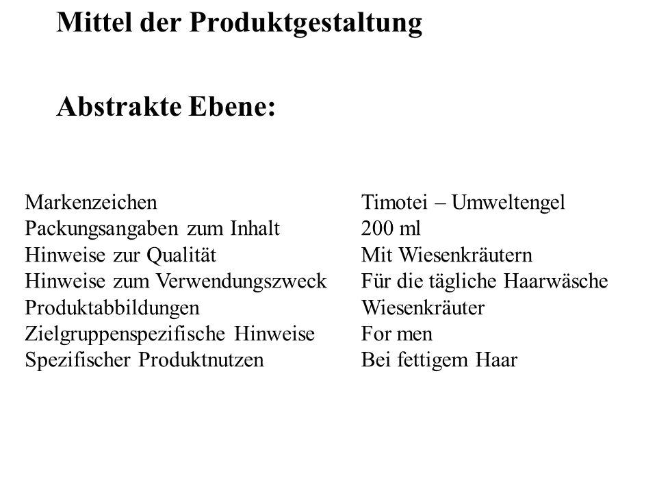 Mittel der Produktgestaltung Abstrakte Ebene: